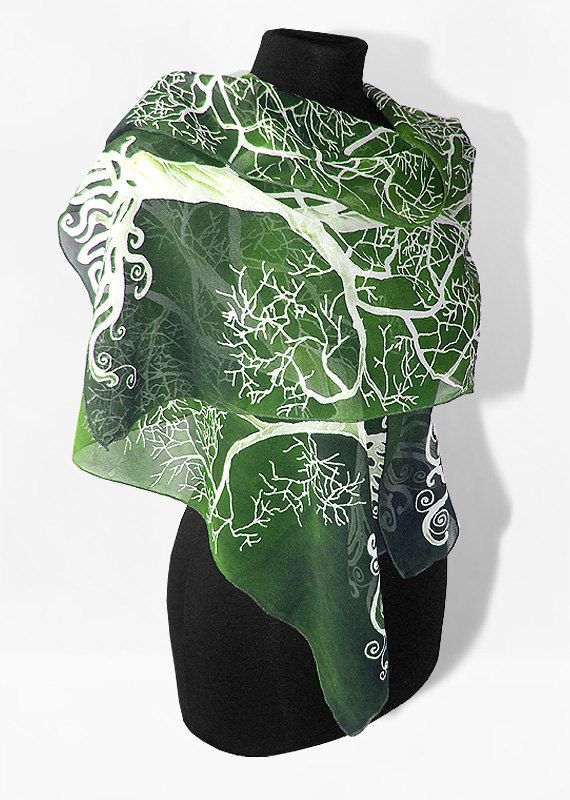 Long silk scarves White Tree in Green hand painted by MinkuLUL, $52.00