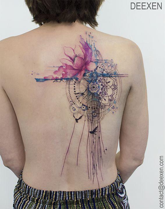 ICH LIEBE ES! Toller Lotus mit dem runden Muster und den Vögeln, aber nicht wie es … #tattoos – Flower Tattoo Designs
