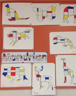 Mondrian - Charivari 1. Découvrir œuvres de Mondrian + sa carte d'identité. 2. Dégager grdes caractéristiques des œuvres étudiées (lignes noires perpendiculaires, 3 couleurs etc..). 3. Décalquer silhouette d'une animal sur une feuille de Canson blanc. 4. Au crayon, tracer qqs lignes horizontales (avec l'équerre) et qqs lignes verticales, irrégulièrement espacées. 5. Au feutre, colorier quelques cases en bleu, jaune, rouge ou noir. 6. Repasser les lignes au feutre noir.