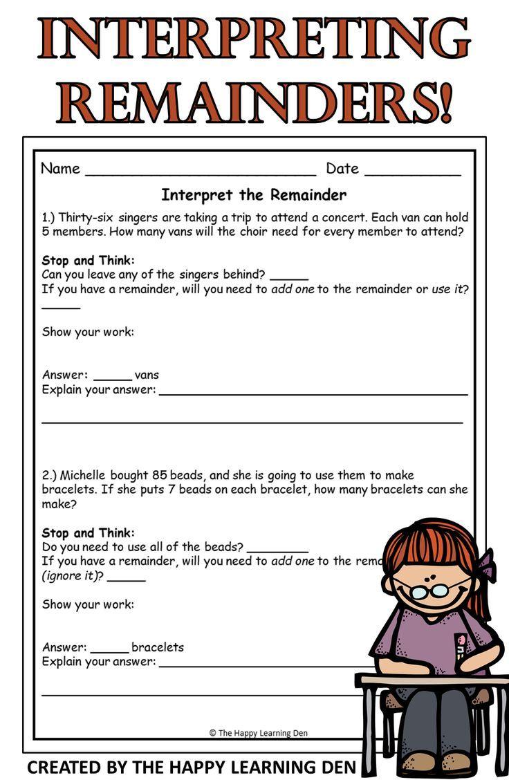 Interpreting The Remainder Interpreting Remainders Division Word Problems Elementary Math Teacher