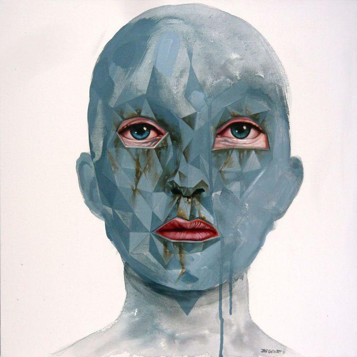 Jan Gemrot: Maska VI, 50x50cm, olej na plátně