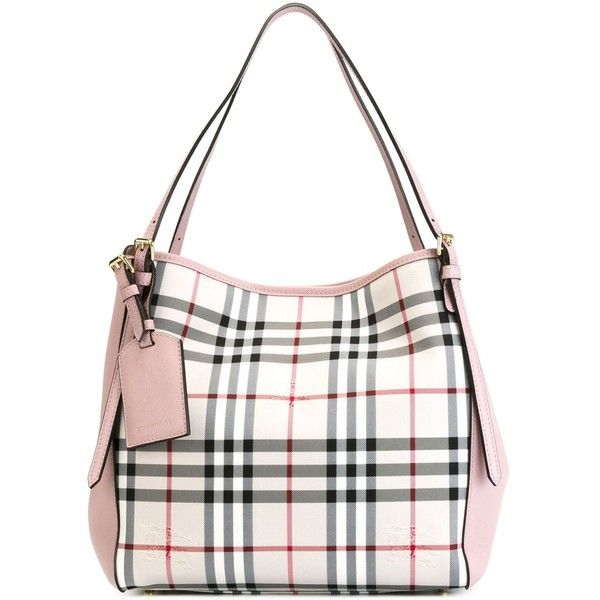 Burberry The Canter in Horseferry Check Top ($1,121) ❤ liked on Polyvore featuring bags, handbags, grey, grey bag, gray purse, gray bag, burberry bags and burberry