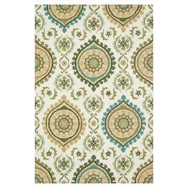 "Hand-hooked rug with an aqua and green chevron motif.    Product: RugConstruction Material: 100% PolyesterColor: Ivory and aqua   Features:Hand-hookedStain-resistantMoisture-resistant0.25"" Pile height   Note: Please be aware that actual colors may vary from those shown on your screen. Accent rugs may also not show the entire pattern that the corresponding area rugs have.Cleaning and Care: Clean spills immediately by blotting with a clean sponge or cloth. Vacuum carefully without beater ..."