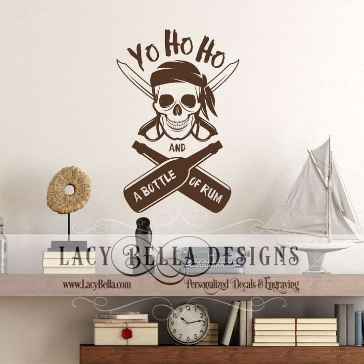 """www.lacybella.com """"Yo Ho Ho and a Bottle of Rum"""" Pirate graphic embellishment decal wall sign sticker"""