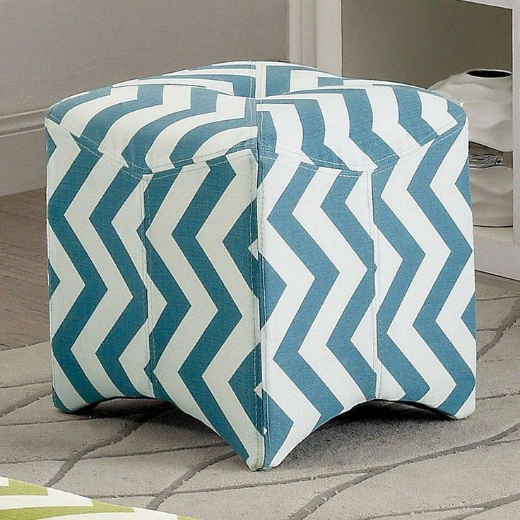 Light Teal Blue White Zig Zag Square Ottoman Chevron Pattern Button Tufted Top Bold Texture Appeal Arched Leg Design Fabric Small Footstool