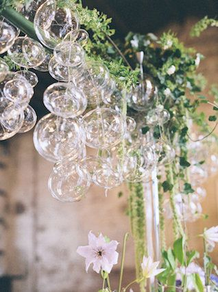 Hnad blown glass bubble chandelier | Melissa Kruse Photography and Diana Tsao Events | see more on: http://burnettsboards.com/2014/08/bubble-wedding/