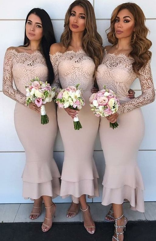 0604dcd415  109-Pink Lace Mermaid Bridesmaid Dresses Off-the-Shoulder Long Sleeves Wedding  Party Dresses