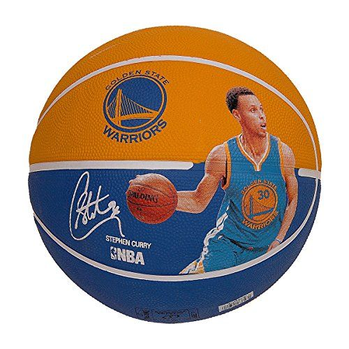 Spalding 83343 Stephen Curry Basketball, Gold/Blue  Exclusive Stephen curry player ball  Spalding premium outdoor rubber cover  NBA player specific graphics  Official NBA size & weight  Designed for outdoor play