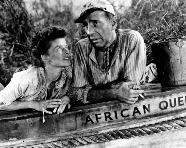 """I love the way Hepburn describes Bogart in this book, which she wrote almost thirty years after the film was made:    He walked straight down the center of the road—  No maybes. Yes or no.  He liked to drink. He drank.  He liked to sail a boat. He sailed a boat.  He was an actor. He was happy and proud to be an actor.  He'd say to me, """"Are you comfortable? Everything O.K.?""""  He was looking out for me.  """"Need anything?""""  To put it simply: There was no bunk about Bogie. He was a man."""