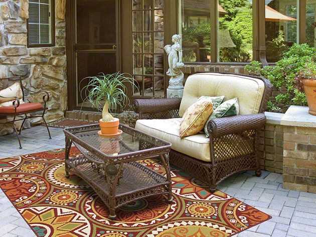 Shaw Area Rugs Outdoor Medallions In Red