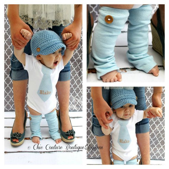 NEW Baby Boy Fall Baby Blue Herringbone Personalized Tie Bodysuit & Wood Button Leg Warmers SET.  Thanksgiving Christmas Holiday, Tan, Beige on Etsy, $31.95