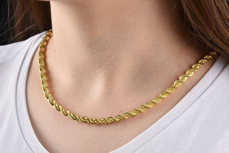 14k Solid Gold Rope Chain Necklace 5mm Gold Rope Chain Necklace Gold Rope Choker Necklace Gold Necklace Women 14k Gold Rope Chain Gold Rope Chains