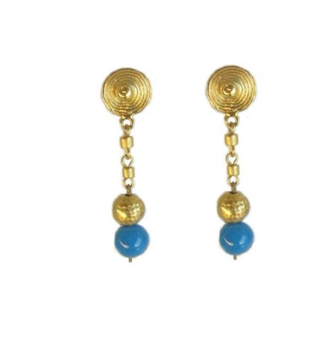 Gold & Turquoise Semi Precious Stone Earrings Pre Columbian Jewelry HandCraft