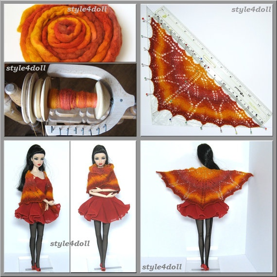 style4doll  Hand knitted triangular shawl for by style4doll, $19.99