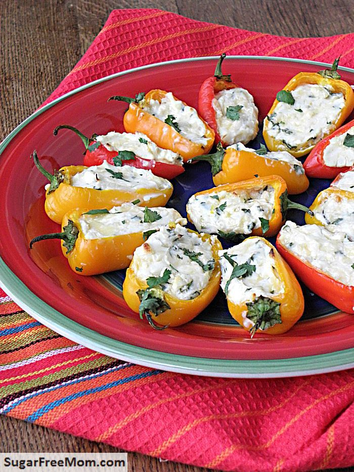 1 pound mini sweet peppers, halved 8 ounces smoked Gouda cheese, grated 8 ounces cream cheese, room temperature 1/2 cup crumbled feta cheese 1/4 cup grated onion 2 cloves garlic minced 2 tablespoons chopped cilantro Instructions Preheat oven to 425 degrees. In a bowl mix all ingredients together. Fill each pepper halve with cheese mixture. Bake 15-18 minutes until cheese is melted and slightly browned.