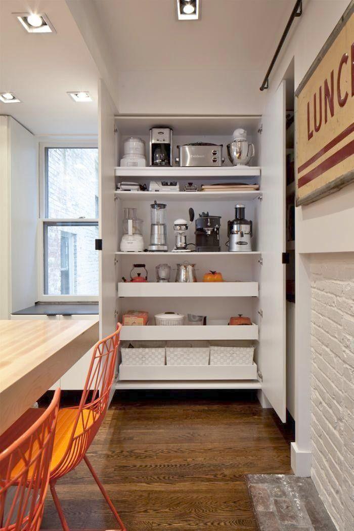 Kitchen Appliance Storage, Full Height Kitchen Cabinet Design