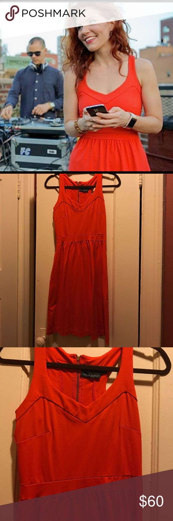 Fire engine red midi dress Cynthia Rowley Super cute dress by Cynthia Rowley. Worn once for a shoot. Its a great bright red color. Has pockets :) super cute for date night or summer wedding guest! Cynthia Rowley Dresses Mini