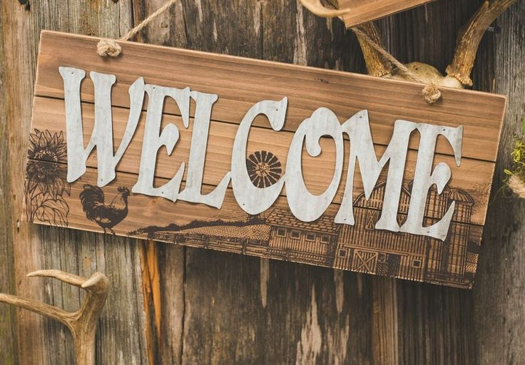 """New Primitive Rustic Rooster Barn WELCOME Galvanized Rust Wood Wall Sign 18"""" #Unbranded"""
