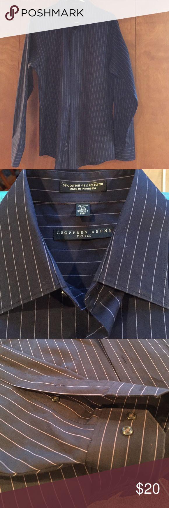 Geoffrey Beene dress shirt Geoffrey Beene dress shirt, navy blue with pink pin stripe like new condition sz M 15 1/2 34/35 Geoffrey Beene Shirts Dress Shirts