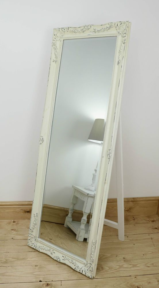 Isabella Vintage Cream Shabby Chic Full Length Antique Cheval Mirror 60  x 22 XL