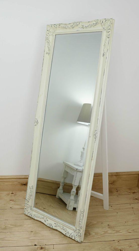 Isabella Vintage Cream Shabby Chic Full Length Antique Cheval Mirror 60  x 22 XL