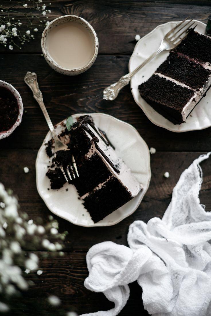 Dark Chocolate and Raspberry Cake with Earl Grey Swiss Meringue Buttercream