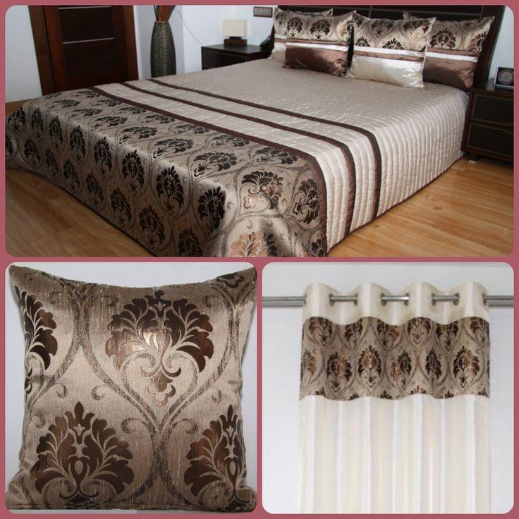 Jasnobeżowe komplety dekoracyjne do sypialni z brązowym wzorem
