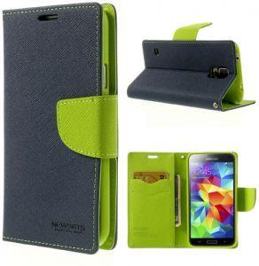 Mercury Case Θήκη Πορτοφόλι Μπλε (Samsung Galaxy S5 mini) - myThiki.gr - Θήκες Κινητών-Αξεσουάρ για Smartphones και Tablets - Χρώμα μπλε με πράσινη δέστρα