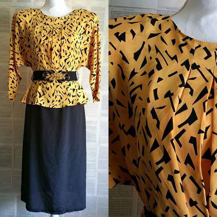 Vintage Black & Yellow 80s Dress - Size 8-10 by MyVintageSundays on Etsy