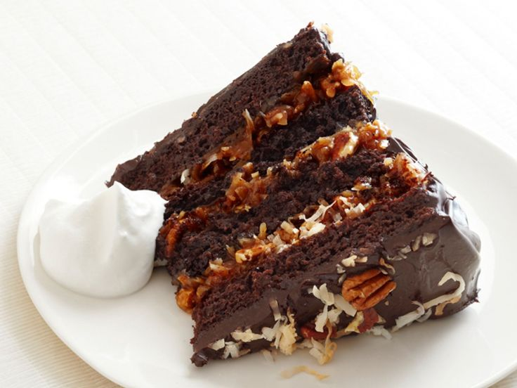 German Chocolate Cake With Coconut-Pecan Cajeta Frosting recipe from Bobby Flay via Food Network