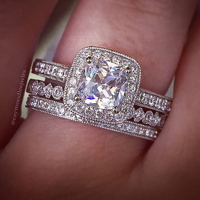 I like the way the bands all go together even though theyre not the same... A. Jaffe Engagement Ring Stack