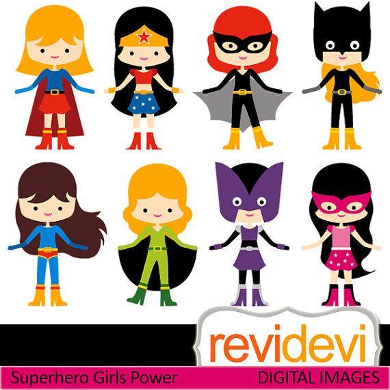 Clipart Superhero Girls Power 07418.. Commercial use digital clip arts on Etsy, $5.95