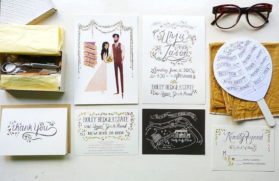 Unju and Jason's chic rustic wedding is in a beautiful estate house decorated with wild flowers and lavender.    They asked us to create hand-lettered wedding stationery that fit the mood of their celebration. Our stationery includes wedding invitations, information card, map, thank you card and a program fan.