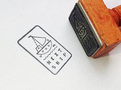 Next Ship logo stamp design