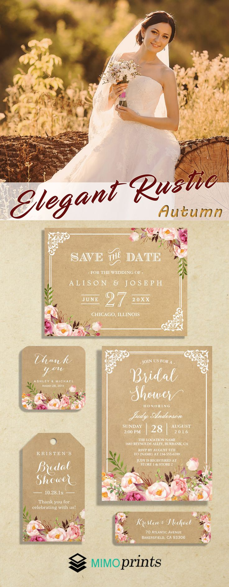 An Autumn Elegant Rustic Floral Kraft Invitation