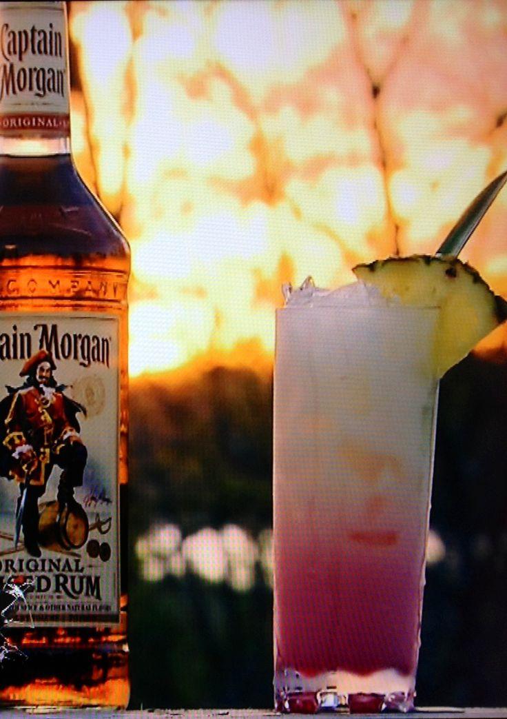 The Sun Setter.  1.5 oz Captian Morgan Orig. Spiced rum 1.0 oz Coconut milk  3.0 oz Pineapple juice  Splash of lime Juice  0.5 Hibiscus Syrup  Garnish; Pineapple leaf and Pineapple slice