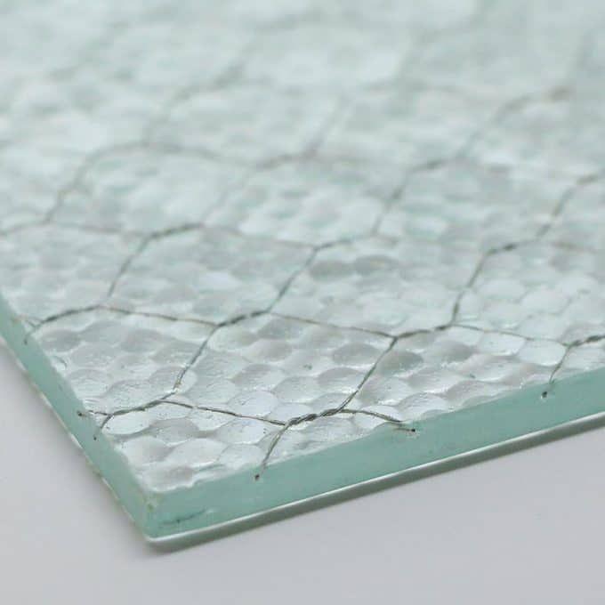 Pebbled chicken wire glass