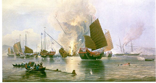 A depiction showing how outmatched the Chinese were against Britain. The First Opium War