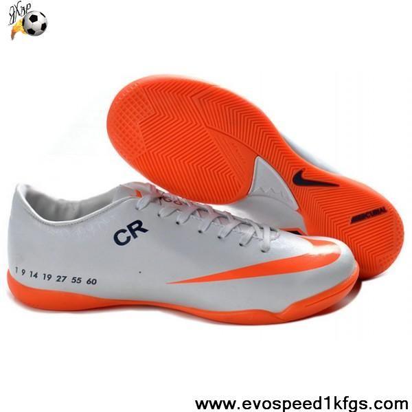 Cheap Discount white orange Nike Mercurial Vapor IX IC Victory V CR7 Football Shoes Shop