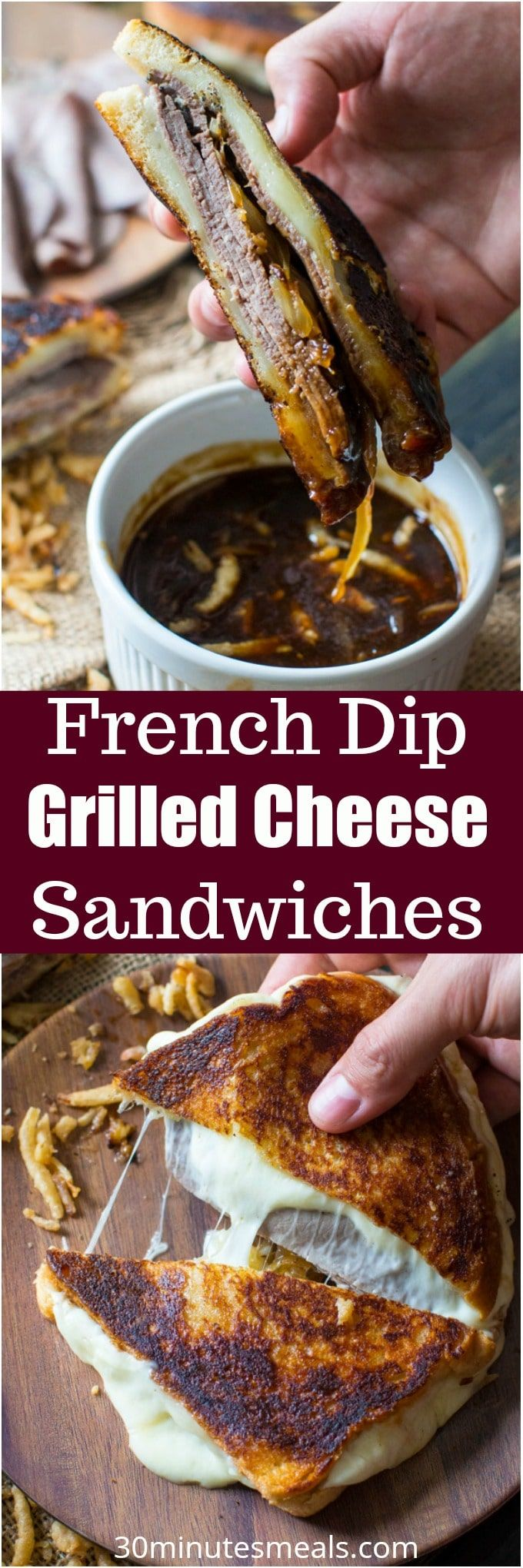 French Dip Grilled Cheese Sandwich is perfect for dinner, parties or game nights! Serve with the dipping sauce on the side for the ultimate, amazing flavor! #grilledcheese #sandwich #frenchdip