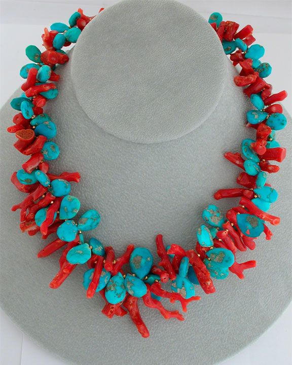 Cowgirl Dreams: A double-strand necklace of contrasting sky blue Sleeping Beauty turquoise & red coral frangia, both interspersed with 18K gold accents. Twist together for a dynamic effect or leave as 2 contrasting strands. (Coral imported with required CITES permits.) ElleSchroeder.com