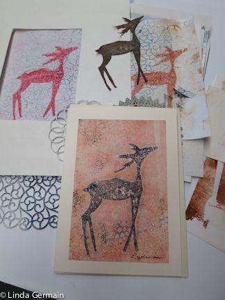 Gelatin Printing Cards - reindeer and doilies - Linda Germain