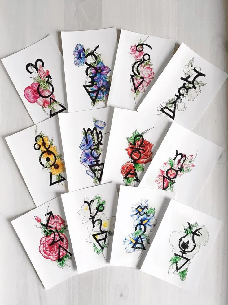 Image of Complete set of all 12 Zodiac Sign Designs (12x A6 Postcard size)