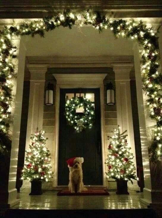 .Love these lights around a craftsman-style entryway!