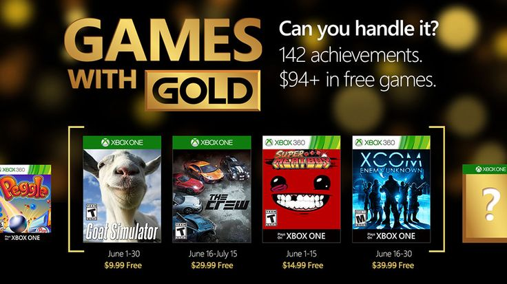 Goat Simulator The Crew Super Meat Boy and XCOM to be free with Xbox Live Gold for the month of June.
