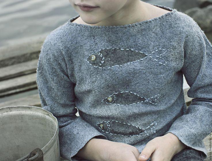 Купить Северное лето - серый, шерсть, Валяние, Мокрое валяние, детская одежда, свитер