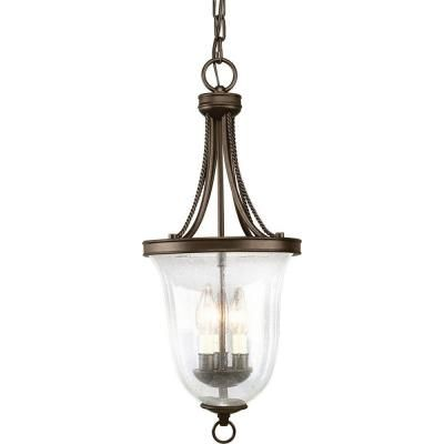 Progress Lighting Seeded Glass Collection 3-Light Antique Bronze Foyer Pendant-P3753-20 at The Home Depot