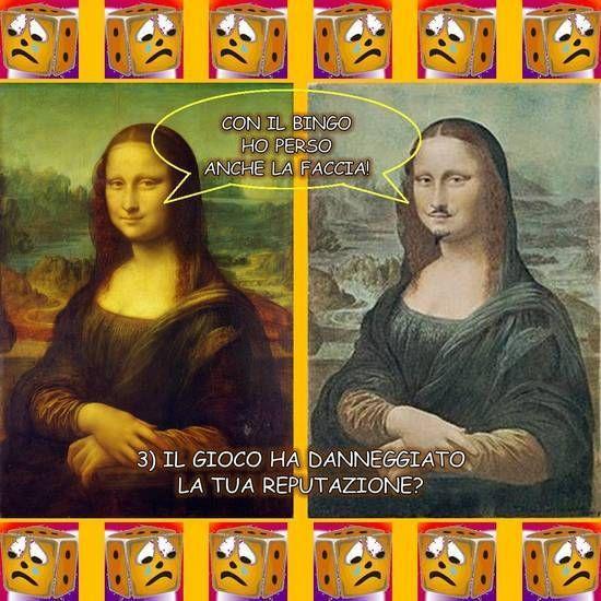 """CON IL BINGO HO PERSO ANCHE LA FACCIA! Libera rivisitazione delle opere """"Gioconda"""" di Leonardo da Vinci (1503) e """"L.H.O.O.Q."""" di Marcel Duchamp (1919), suggerita dalla terza domanda di Giocatori Anonimi: """"Il gioco ha danneggiato la tua reputazione?"""". Dalla raccolta """"Anche i quadri te lo chiedono"""" di Vittorio Gioco: rielaborazione a fumetti di dipinti guidata delle venti domande di Giocatori Anonimi."""
