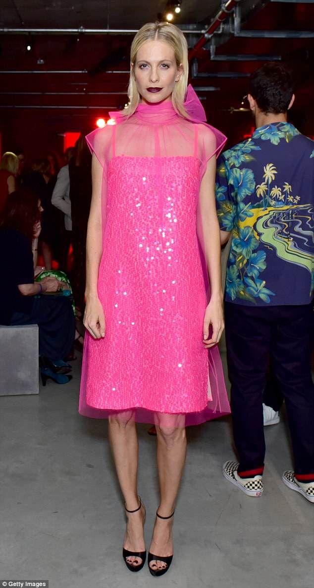 bbda7baa22 Poppy Delevingne sparkles in pink semi-sheer dress at Prada show ...