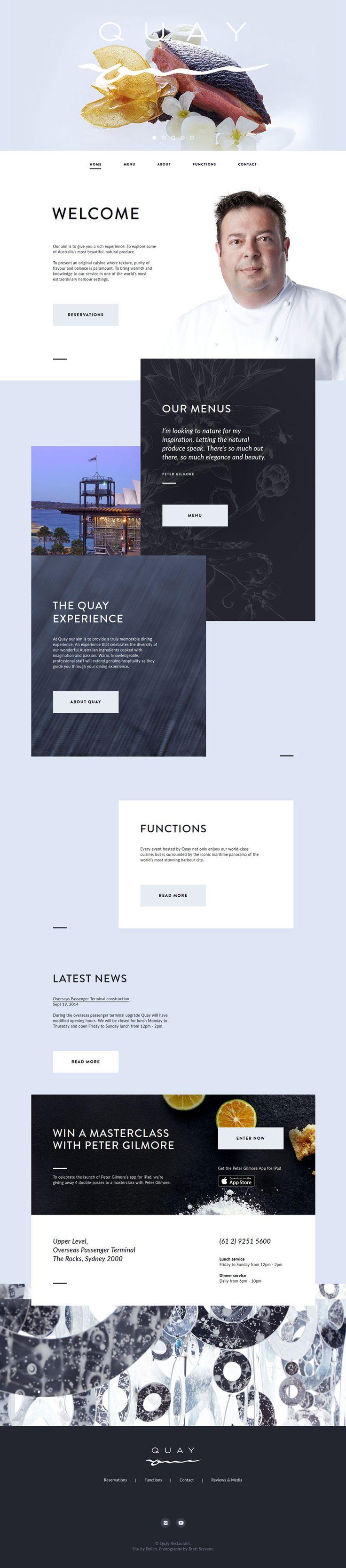 Creative Flat Design Website; Example; Category: Inspiration; Name Site: Quay; Type Website: Restaurant; Color: Blue, Light Blue.